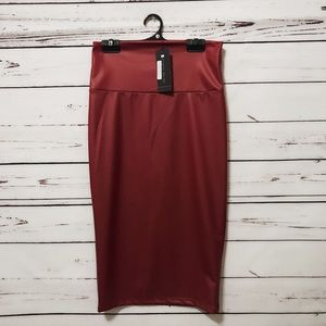 Dresses & Skirts - New Red matte leather pencil skirt